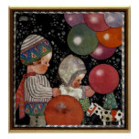 Vintage Children Birthday Party, Balloons and Toys Poster