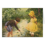 Vintage Children, Boy and Girl Playing by Creek Greeting Cards