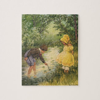 Vintage Children, Boy and Girl Playing by Creek Jigsaw Puzzle
