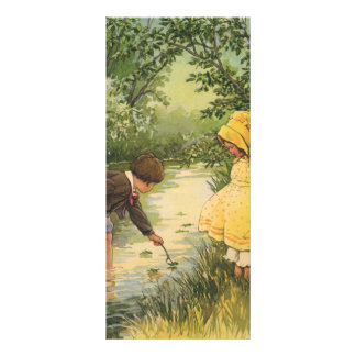 Vintage Children, Boy and Girl Playing by Creek Rack Card Design