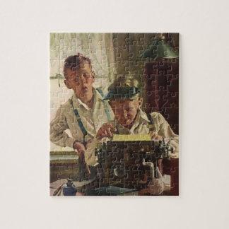 Vintage Children Boy Newspaper Journalists, Writer Jigsaw Puzzle