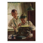 Vintage Children Boy Newspaper Journalists, Writer Poster