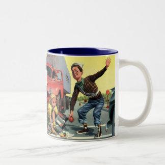 Vintage Children, Boy Safety Patrol Helping Girl Two-Tone Coffee Mug