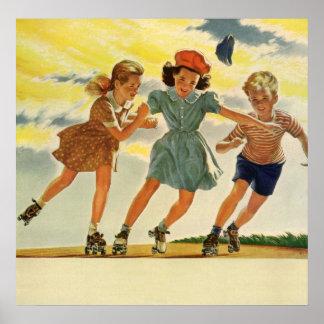 Vintage Children Boys Girls Fun Roller Skating Posters