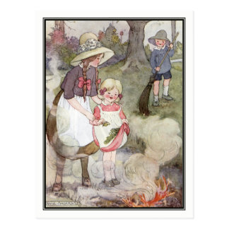 Vintage Children Burning Leaves by Anne Anderson Postcard