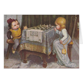 Vintage Children Chess Game Note Card