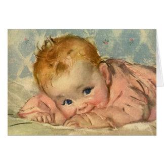 Vintage Children Child, Cute Baby Girl on Blanket Card