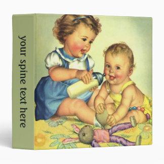 Vintage Children, Cute Happy Toddlers Smile Bottle 3 Ring Binders