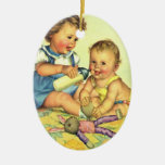 Vintage Children, Cute Happy Toddlers Smile Bottle Christmas Tree Ornaments