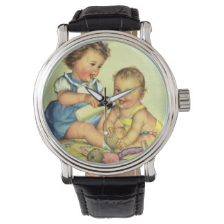 Vintage Children, Cute Happy Toddlers Smile Bottle Watches