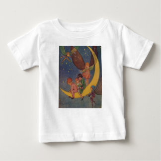 Vintage - Children & Fairies Ride the Moon, Baby T-Shirt