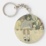 Vintage Children, Garden Wall Jessie Willcox Smith Basic Round Button Keychain