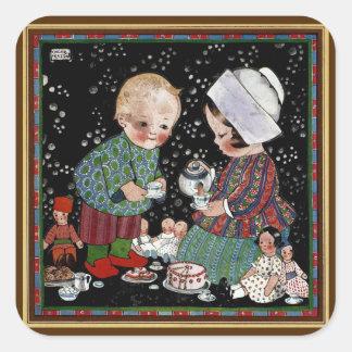 Vintage Children Having a Pretend Tea Party Square Sticker