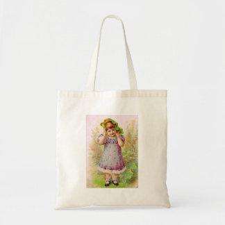 Vintage Children Little Girl Victorian Art Budget Tote Bag