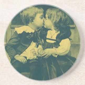 Vintage Children, Love, Romance, an Innocent Kiss Beverage Coaster
