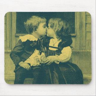 Vintage Children, Love, Romance, an Innocent Kiss Mouse Pad