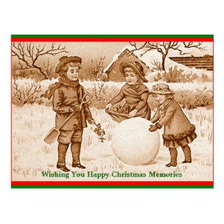 Vintage Children Making Snowman Memories Postcard