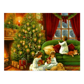 Vintage Children Opening Christmas Gifts Postcard