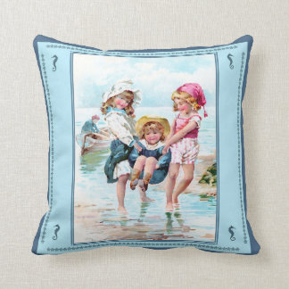 Vintage Children Playing at Seashore Pillow