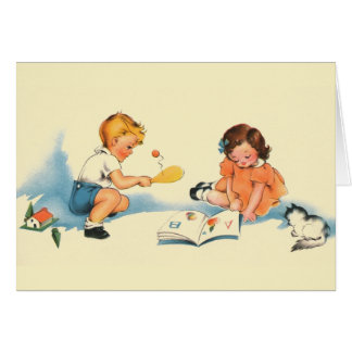 Vintage Children Playing Note Card