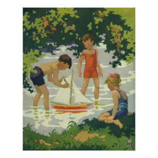 Vintage Children Playing Toy Sailboats Summer Pond Posters