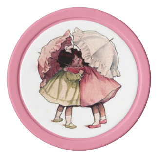 Vintage Children Pretty Girls with Lacy Umbrellas Poker Chip Set
