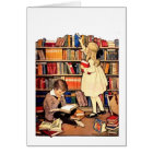 Vintage Children Reading Library Books Blank Card