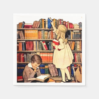 Vintage Children Reading Library Books Napkins Paper Napkins