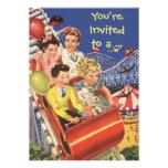 Vintage Children Roller Coaster Fun Birthday Party Invitations