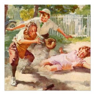 Vintage Children Sports Baseball Birthday Party Custom Invitations