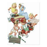 Vintage Children Toddlers Playing with Fire Trucks Postcard
