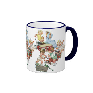 Vintage Children Toddlers Playing with Fire Trucks Ringer Mug