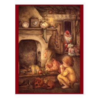 Vintage Children Waiting For Santa Claus Postcard