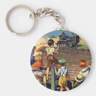 Vintage Children Waving to Local Farmer on Tractor Basic Round Button Keychain