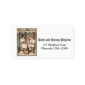 Vintage Children with Thanksgiving Greeting Address Label