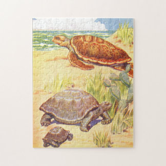 Vintage Childrens Book Illustration Turtles by Sea Jigsaw Puzzle