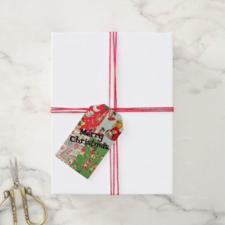 Vintage children's Christmas wrapping paper tags Pack Of Gift Tags