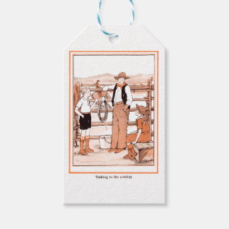 Vintage Child's Book - Talking to the Cowboy Gift Tags