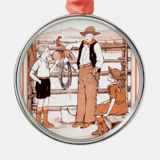 Vintage Child's Book - Talking to the Cowboy Metal Ornament