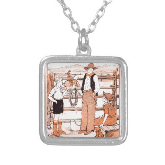Vintage Child's Book - Talking to the Cowboy Silver Plated Necklace
