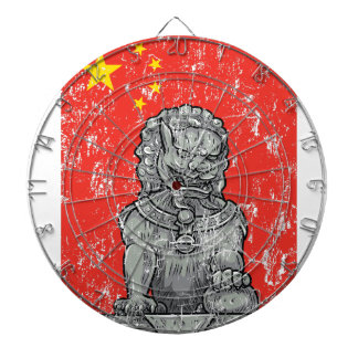 vintage china chines statue dartboard with darts