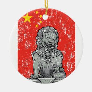 vintage china chines statue round ceramic ornament