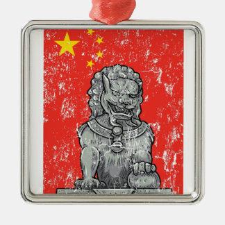 vintage china chines statue Silver-Colored square ornament