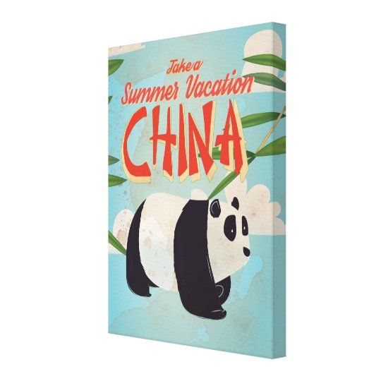 Vintage China Panda Vacation Poster Canvas Print