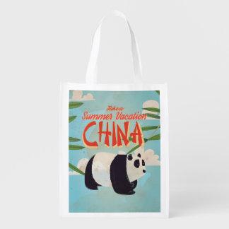 Vintage China Panda Vacation Poster Reusable Grocery Bag