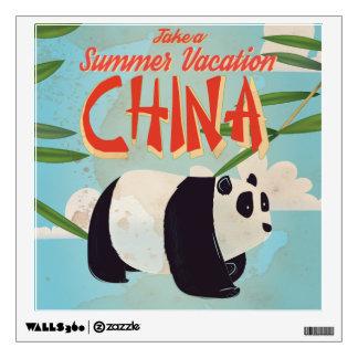 Vintage China Panda Vacation Poster Wall Sticker