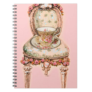 Vintage China Teacup and Victorian Chair Spiral Notebooks