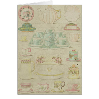 Vintage China Teacups Thank You Shabby Collage Card