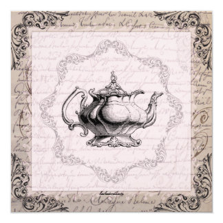 Vintage China Teapot Bridal Shower Tea Party Card