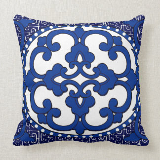 Vintage China Version I in Blue Throw Pillow